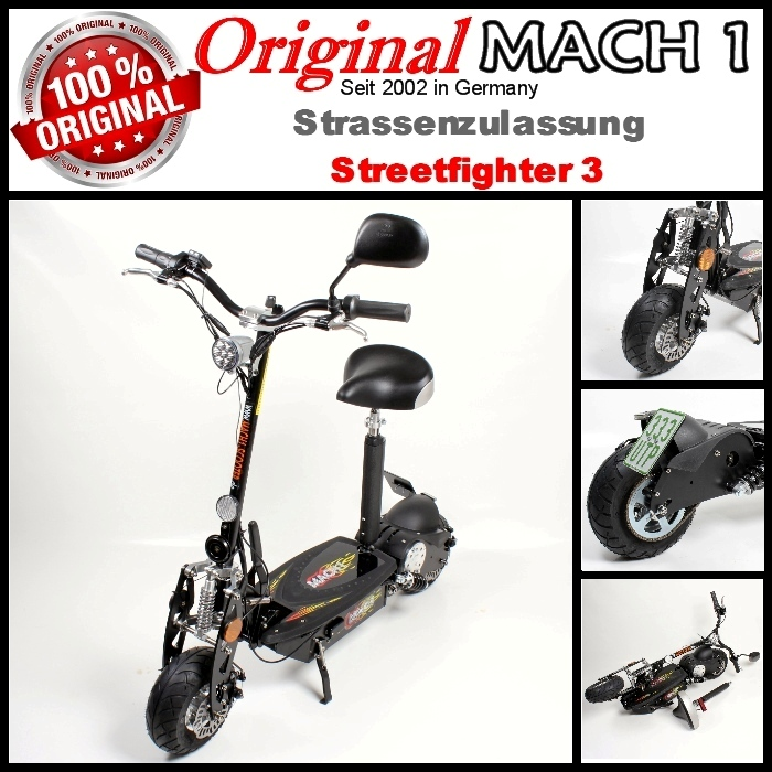 mach 1 e scooter avec trangl e mobylette elektroscooter. Black Bedroom Furniture Sets. Home Design Ideas