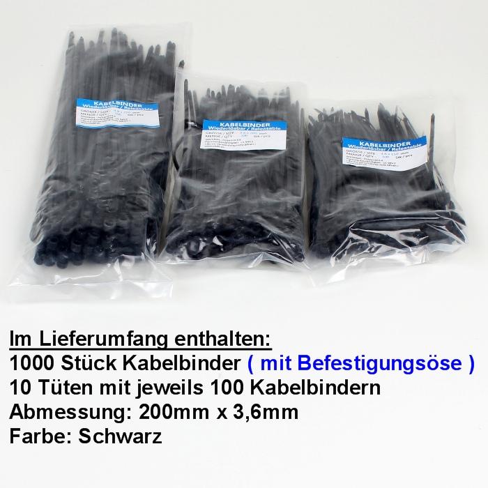 200-x-3-6-mm-Kabelbinder-mit-Befestigungsoese-100-bis-5000-Stk-Schwarz-Nylon-6-6