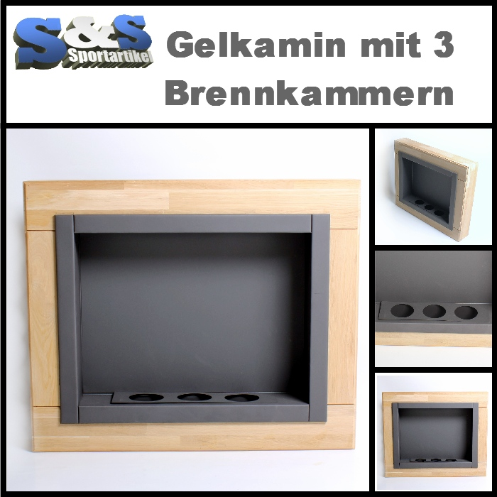 neuer gelkamin holz eiche mit 3 brennkammern wandkamin bioethanol ethanol ebay. Black Bedroom Furniture Sets. Home Design Ideas