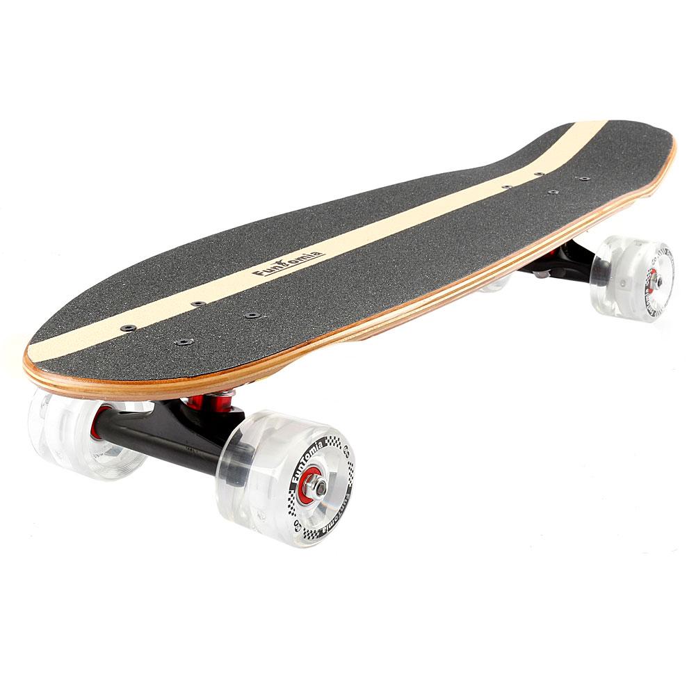 funtomia led midi board skateboard ahorn und bambus holz abec 11 retro cruiser. Black Bedroom Furniture Sets. Home Design Ideas