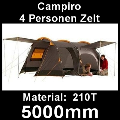 campiro familienzelt camping zelt neu ovp 5000mm wassers ule 2 3 4 personen. Black Bedroom Furniture Sets. Home Design Ideas